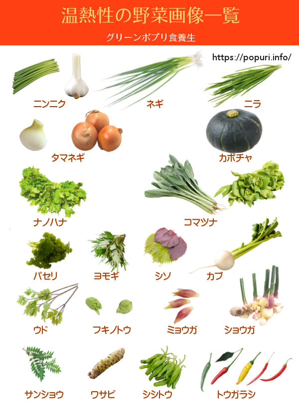 温熱性の野菜画像一覧 グリーンポプリ食養生